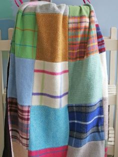 Pure New Wool Patchwork Quilted Throw