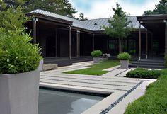 jardin camino estanque moderno zen