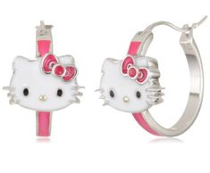 d0d0f8f7a Hello Kitty by Simmons Jewelry Co. Enamel Face and Red Enamel Bow Girl's  Hoop Earrings