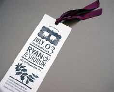 Bookmark wedding invite or cute idea for a save the date. Especially for book lovers!
