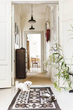 Lumi-koira vahtii taloa. Maljakossa on kaisloja ja luonnonkukkia omasta rannasta. Kelim-matto sopii vaaleaan sisustukseen.