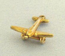 Vintage 10K Yellow Gold Air Plane Pendant or Charm