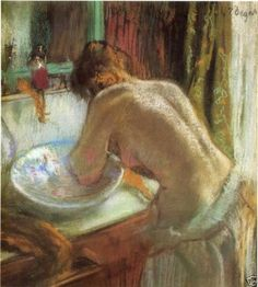 "Typed note on back reads "" ""Le Bain"" (The Bath), also known as La Toilette Apres le Bain, ""Edgar Degas, circa Photograph Sotheby's New York. This is an Art Print on Board of ""Le Bain"" The Bath aka La Toilette Apres le Bain. Edgar Degas, Degas Drawings, Degas Paintings, Figure Painting, Painting & Drawing, Degas Artist, Charles Gleyre, Pierre Auguste Renoir, Edouard Manet"