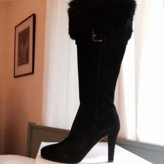 "Genuine suede boots. Made in Italy. Genuine black suede high heel boots with fur. Buckle detail below fur cuff. Inside full length zipper. 3"" heel. Worn once to a holiday party. Sadly, recent knee surgery is keeping these on the sidelines. They deserve a loving home!! Shoes"