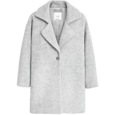 Mango Lapels Wool Coat, Light Pastel Grey (65 AUD) ❤ liked on Polyvore featuring outerwear, coats, jackets, coats & jackets, wool coat, cocoon coat, gray cocoon coat, long sleeve coat and pastel coat