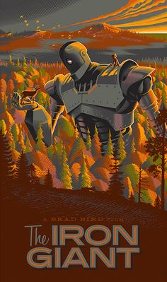 Retro-inspired movie poster of The Iron Giant by Laurent Durieux.