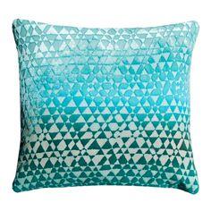 Kevin O'Brien Studio Triangles Velvet Decorative Pillow - Aqua