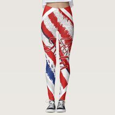 Custom Leggings, Women's Leggings, Red White Blue, Leggings Fashion, Look Cool, Independence Day, Dressmaking, Blue Stripes, Cheerleading