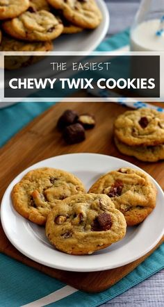 These Chewy Twix Cookies are soft and chewy, loaded with twix pieces and baked until they're slightly crispy on the edges but fluffy on the inside! #cookies #twixcookies #twix #twixrecipe #chewycookies #easycookies #chocolatechipcookies #cookierecipe #easycookierecipe