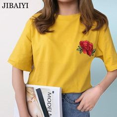 d45ba44db Rose Embroidery Yellow Tumblr Aesthetic Kpop T-Shirt - Mermaid Freak  Aesthetic T Shirts,