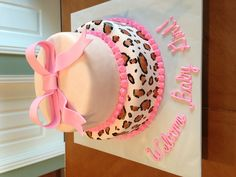 Baby shower cake, hand painted leopard print