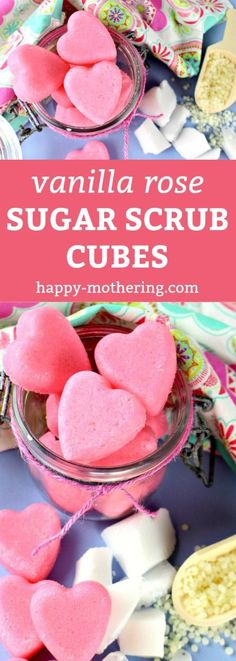 Are you looking for the best DIY sugar scrub cube recipe to gift for Valentine's Day? Our Vanilla Rose Exfoliating Sugar Scrub bars feature yummy essential oils, are natural and easy to make, smell amazing and leave your skin feeling smooth, clean and moi Sugar Scrub Cubes, Sugar Scrub Recipe, Sugar Scrub Diy, Diy Body Scrub, Diy Scrub, Zucker Schrubben Diy, Diy Cosmetic, Cube Recipe, Belleza Diy