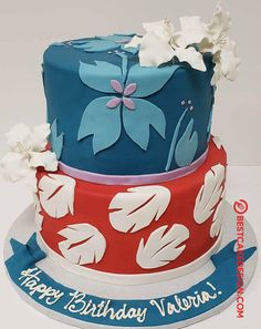 50 Lilo and Stitch Cake Design (Cake Idea) - March 2020 Cute Birthday Cakes, Luau Birthday, Disney Birthday, Birthday Ideas, Lilo And Stitch Cake, Lilo E Stitch, Stitch Cartoon, Disney Desserts, Disney Cakes
