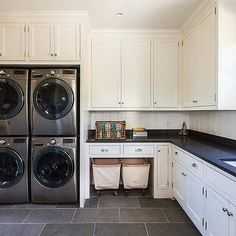 Cottage Laundry Room with Stacked Washers and Dryers, Cottage, Laundry Room