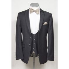 Charcoal grey pure wool flannel lounge suit made to measure wedding horseshoe waistcoat