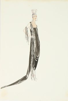 Lucile studio sketches, early 1920's. Black trained satin gown with beaded fringes.