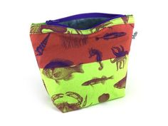 Handmade Sea Creatures Makeup Bag Rust & Lime from maxandrosie.co.uk