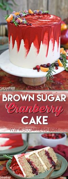Brown Sugar Cranberry Cake - brown sugar spice cake, cranberry filling, and the MOST DELICIOUS brown sugar Swiss meringue buttercream! | From SugarHero.com