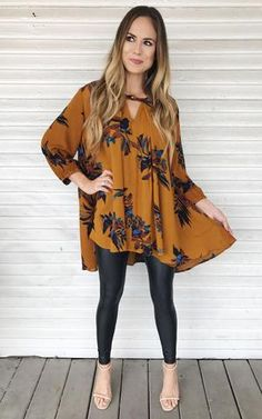 Floral tunic just like the Free People one but way less. love it with the leather leggings.