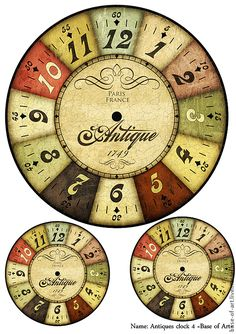 Vintage Pictures for creativity. Clock Face Printable, Collages D'images, Paper Art, Paper Crafts, Etiquette Vintage, Diy Clock, Clock Craft, Decoupage Paper, Collage Sheet