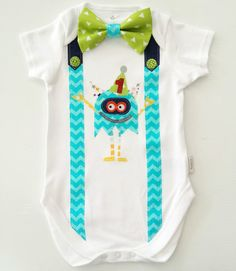 Party Monster Baby Boy's First Birthday 1st by LilBirdieShop