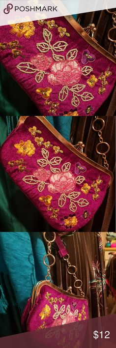 Vintage purse Purple color. Beaded on both sides with flowers. Material looks like a velvet kind of fabric. Vintage. So cute and unique shape. Bags Clutches & Wristlets