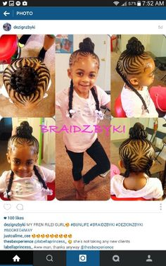 Braids with a bun anf pigtails..