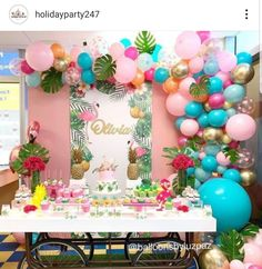 No photo description available. 13th Birthday Parties, Luau Birthday, Birthday Party Themes, Flamingo Birthday, Flamingo Party, Bridal Shower Balloons, Girl Birthday Decorations, Tropical Party, Balloon Garland