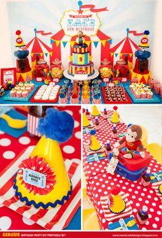 Circo cumpleaños imprimible Seleciona Cupcake Toppers