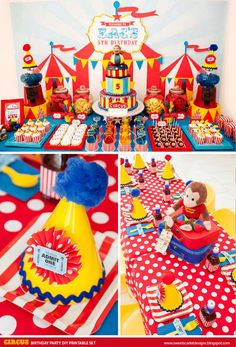 CIRCUS Birthday Party Printable Set - Cupcake Toppers, Bottle Labels, Favor Tags and more on Etsy, $25.00