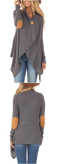 Add elbow patches & possibly a button to the old cashmere cardigan Love Fashion, Winter Fashion, Fashion Outfits, Womens Fashion, Fashion Design, Creation Couture, Asymmetrical Design, My Outfit, Style Me