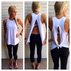 Lululemon tank. I actually have this same shirt from under armour, but in gray. I am obsessed! Material is stretchy! Must buy! & look how the shirt makes her chest look fuller! Yes, yes, yes!