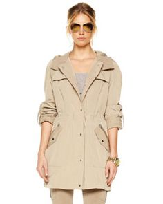 T4B73 MICHAEL Michael Kors Snap-Down Anorak with Hood - $225.00