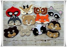 Woodland Creatures Animals, Super Set of 12 Felt Masks, Party Favors, Birthday, Fairy Garden Party