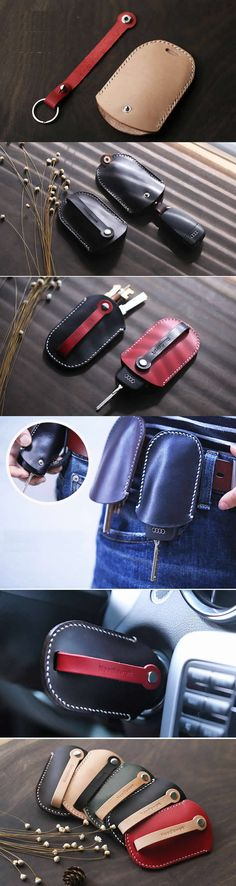 Genuine Leather Car Key Case Cover Holder