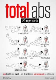 Total abs 20 reps each