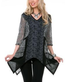 Black & Gray Crocheted Floral V-Neck Sidetail Tunic