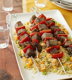 Skewers & Couscous ~ Pumpkin pie spice and curry powder bring a combination of surprising flavors to these steak and red pepper skewers served over couscous. Check out this recipe especially if you are looking for a low-fat and low-sodium main dish.