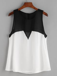 To find out about the Color Block Sleeveless Chiffon Top at SHEIN, part of our latest Tank Tops & Camis ready to shop online today! Teen Fashion Outfits, Look Fashion, Iranian Women Fashion, Baby Girl Dresses, Plus Size Tops, Casual Tops, Beautiful Outfits, Chiffon Tops, Ideias Fashion