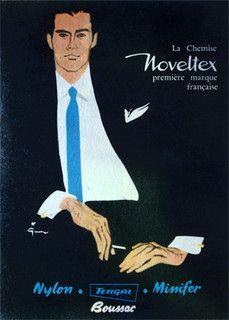 Gruau Noveltex by Rene Gruau, 1962 René Gruau, a renowned fashion illustrator (1909-2004)  http://www.renegruau.com