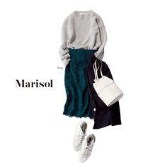 スニーカーコーデをここまでエレガントに格上げするレースマジック!【2017/12/19コーデ】Marisol ONLINE 女っぷり上々!40代をもっとキレイに。