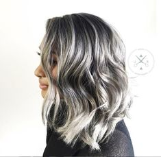 Gorgeous gray! Jeffrey Robert said his client started with dark brown hair and this is the outcome after two sessions. Base #KenraColor 7SM, melted through with 8SM, 10SM. #grayhair #grannyhair #silvermetallic #silverhair