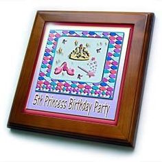 """5th Princess Birthday Party - 8x8 Framed Tile by Beverly Turner Photography. $22.99. Inset high gloss 6"""" x 6"""" ceramic tile.. Dimensions: 8"""" H x 8"""" W x 1/2"""" D. Keyhole in the back of frame allows for easy hanging.. Solid wood frame. Cherry Finish. 5th Princess Birthday Party Framed Tile is 8"""" x 8"""" with a 6"""" x 6"""" high gloss inset ceramic tile, surrounded by a solid wood frame with predrilled keyhole for easy wall mounting."""