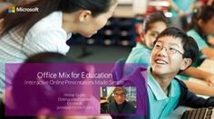 Overview of Office Mix for Education, by Anoop Gupta,   Good: Clickable table of contents. Good composition of his head within the frame at the beginning, if a bit small in overall size.  Bad: Audio is variable throughout, headset would've helped.
