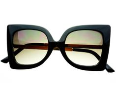 Retro Womens Gold Metal Gray Lens Square Cat Eye Black C692