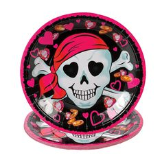 Pink Pirate Girl Dinner Plates - OrientalTrading.com