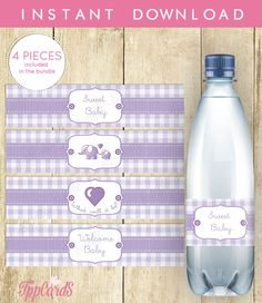 Instant Download Lilac Elephant Water Bottle Labels Printable Baby Shower Wraparounds It's a Girl Baby Shower Water Bottle Labels by TppCardS #tppcards