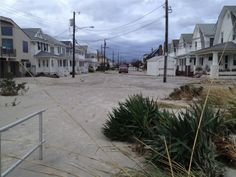 Streets covered in sand from sandy in OCNJ