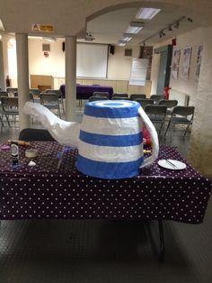 Blue cornishware Papier-mâché teapot.
