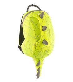 Yellow hi-vis dinosaur toddler backpack front